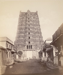 Madura. The Great Pagoda [Minakshi Sundareshvara Temple]. The pyramidal tower at west entrance